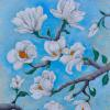 """White Magnolia"" 30""x24""x1.5"" Acrylic/mixed media on gallery wrapped canvas. $650"